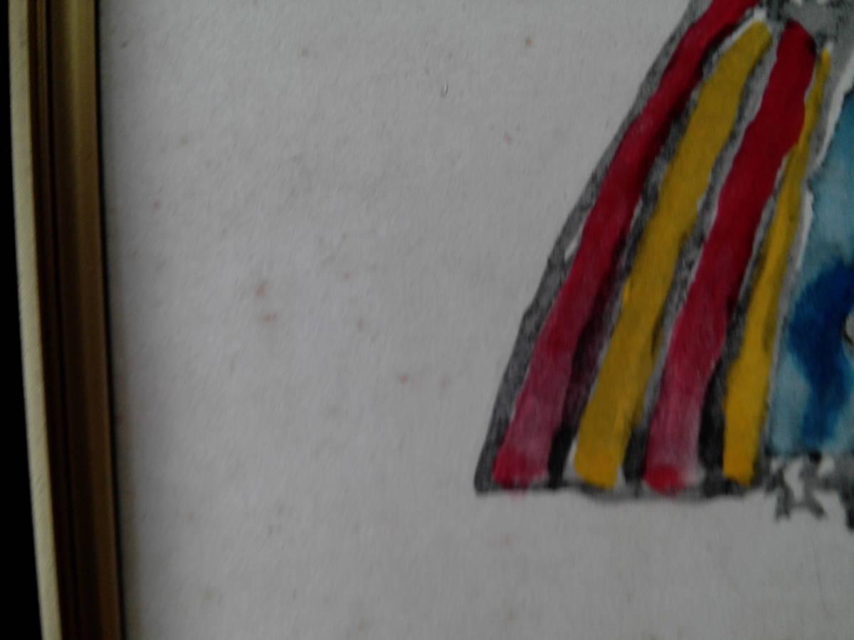 鈴木信太郎画伯  巧芸画 【古風な人形】 色紙画 ガラス額入り 43,3cm_画像8