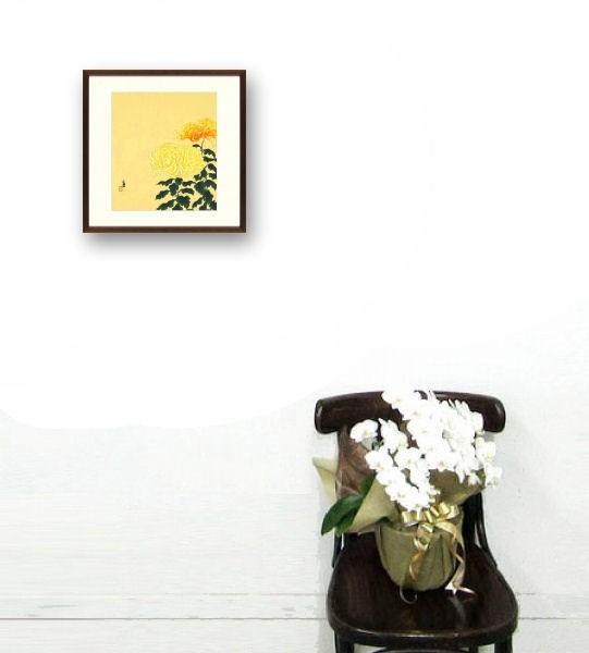 ★徳力富吉郎『菊』木版画 絵画 【R1424】_画像4