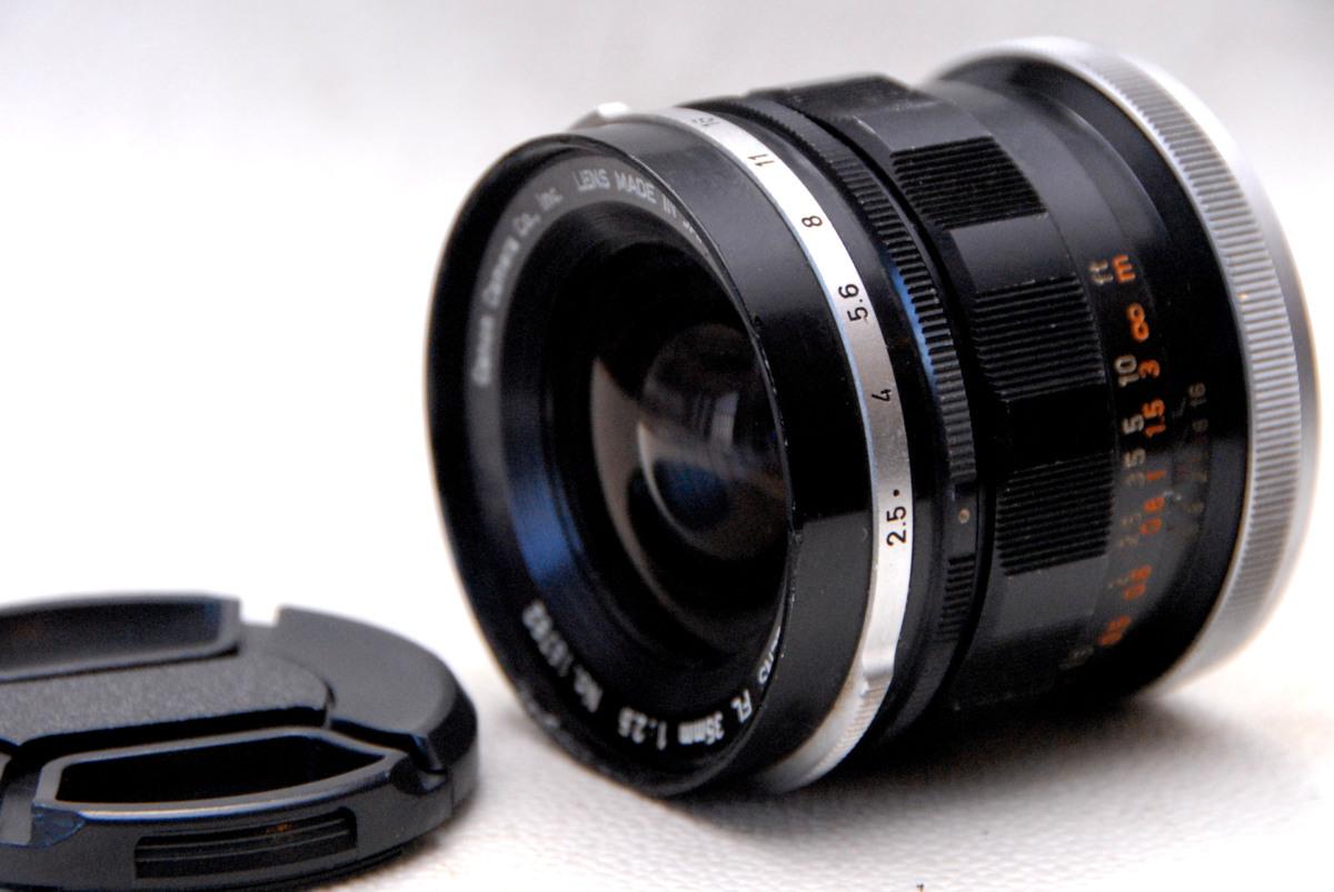 Canon キャノン 純正 FL 35mm 単焦点高級ワイドレンズ 1:2.5 希少・作動品