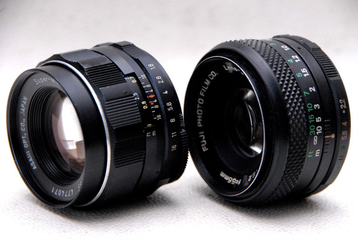PENTAX ペンタックス M42マウント専用 (FUJINON 55mm + TAKUMAR 55mm) 高級単焦点レンズ 2本まとめて 作動品