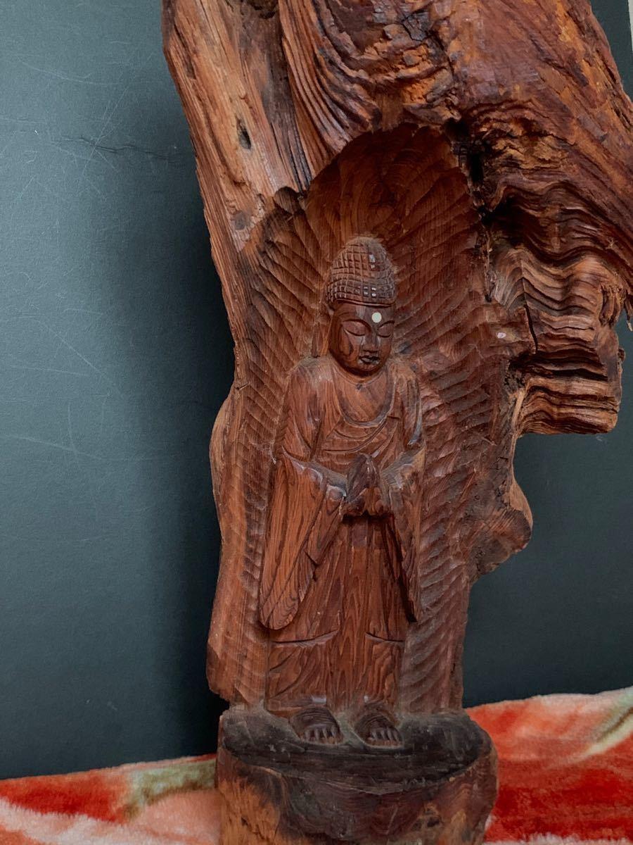 仏教美術 木彫 玉眼 仏像 特大 極上細密彫刻