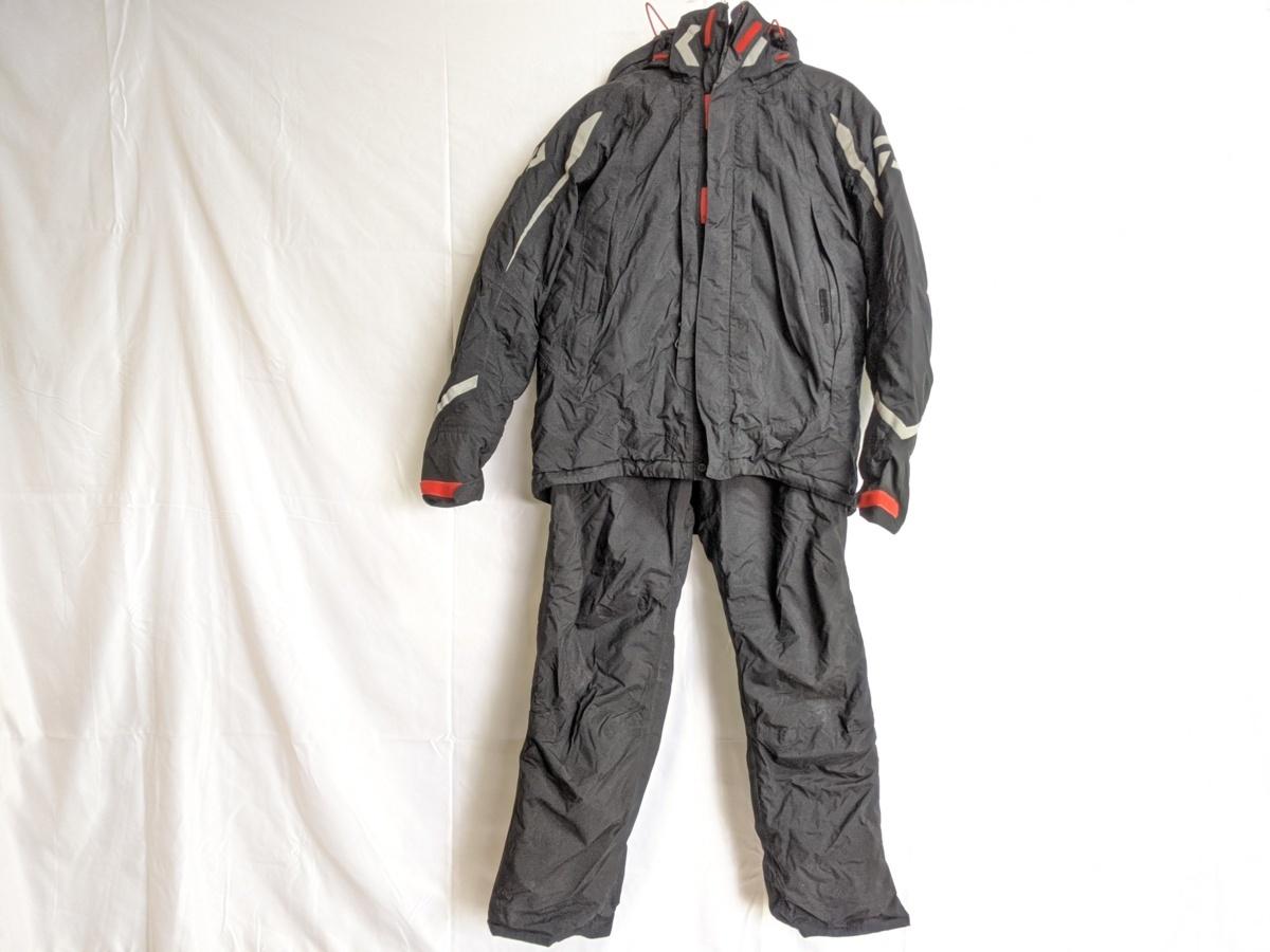 ダイワ レインマックス ハイパーフロント ウィンタースーツ Mサイズ DW-3402 サスペンダーバンド無し 釣り用 防寒着 防水 透湿 上下セット_画像1