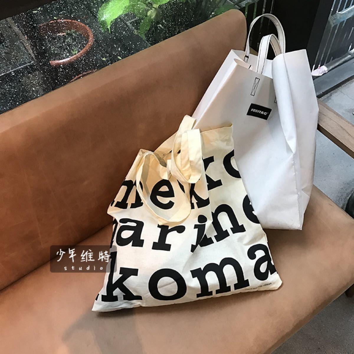 マリメッコ トートバッグ 大きめ エコバッグ 丈夫 キャンバス キュート 韓国