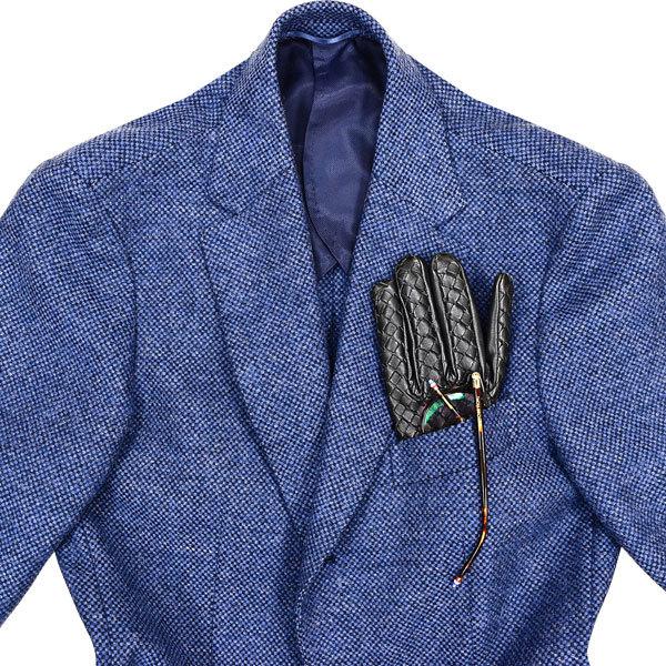 大人の秋冬に◎!!! エディフィス ×【英】ジャミーソンズ社製 本格厚手ツイード素材!今旬英国調/美麗なブルー色◎ ジャケット&ベスト 44_画像3