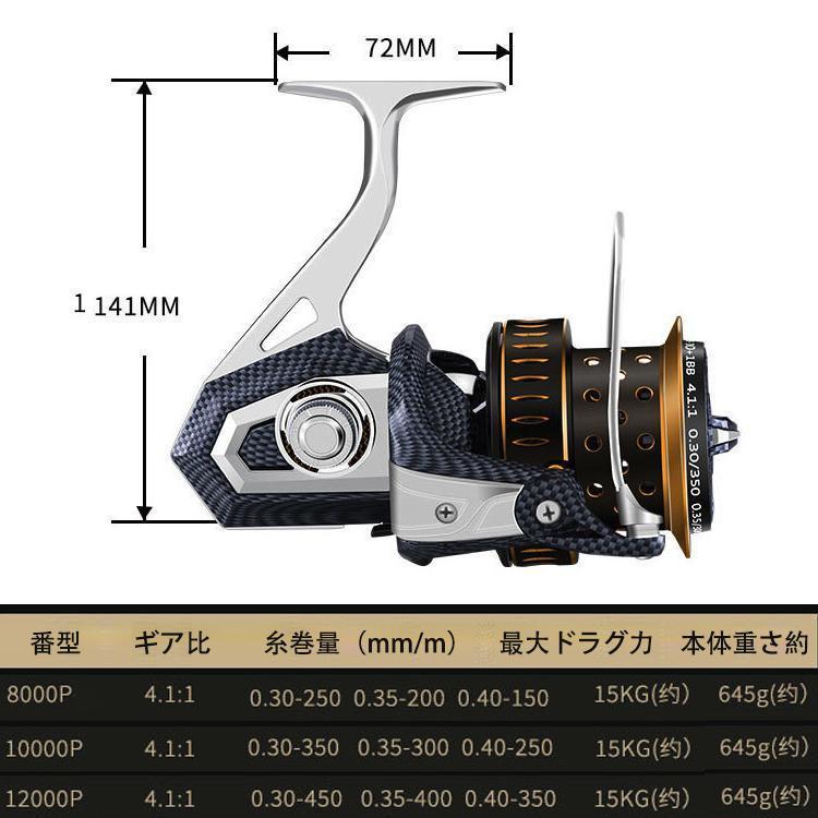 YU97 スピニングリール 釣りリール リール 大型 8000番 最大ドラグ力15Kg 遠投 海水 淡水 両用 左右ハンドル交換可能 左巻き 右巻き_画像2