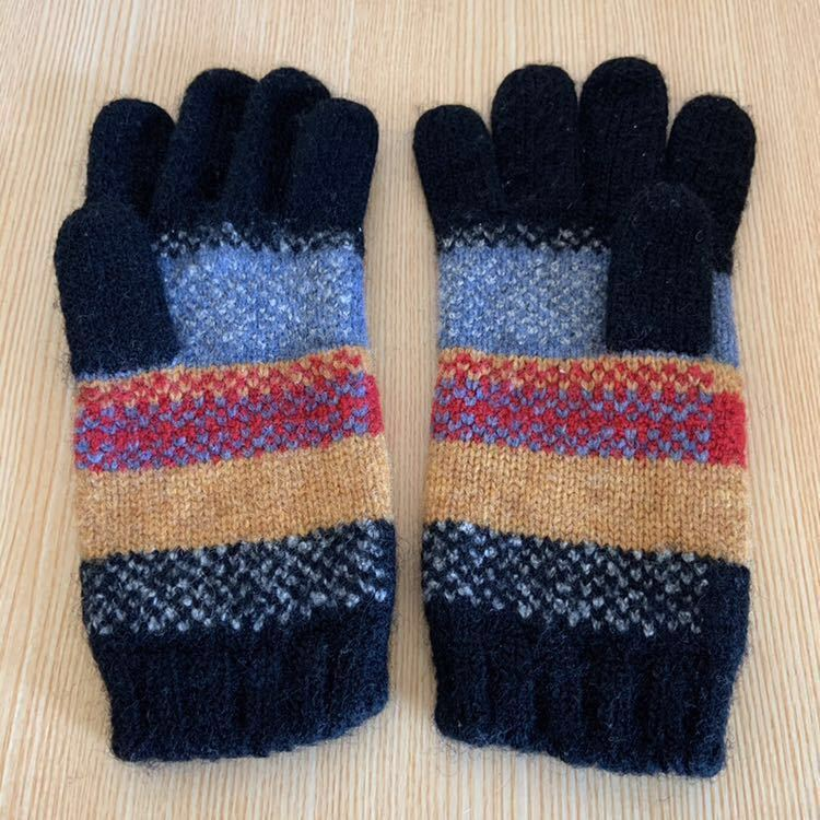vivienne westwood ヴィヴィアン ウエストウッド 手袋 グローブ ボーダー ワッペン ニット手袋 ORB オーブ