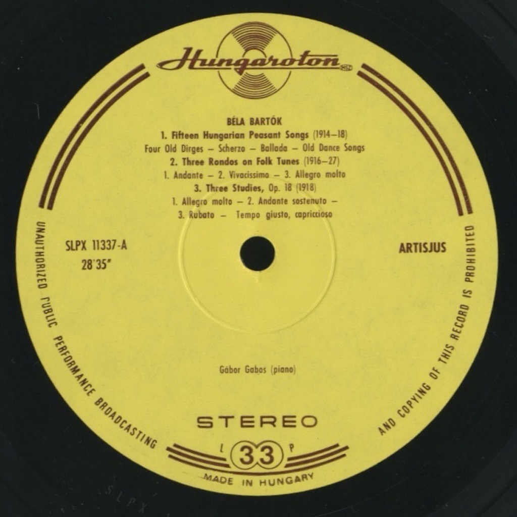 ガボシュ・ガボール / バルトーク :15のハンガリーの農民の歌、3つのロンド、3つの練習曲、即興曲、舞踏組曲 / ハンガリー盤/HUNGAROTON_画像3