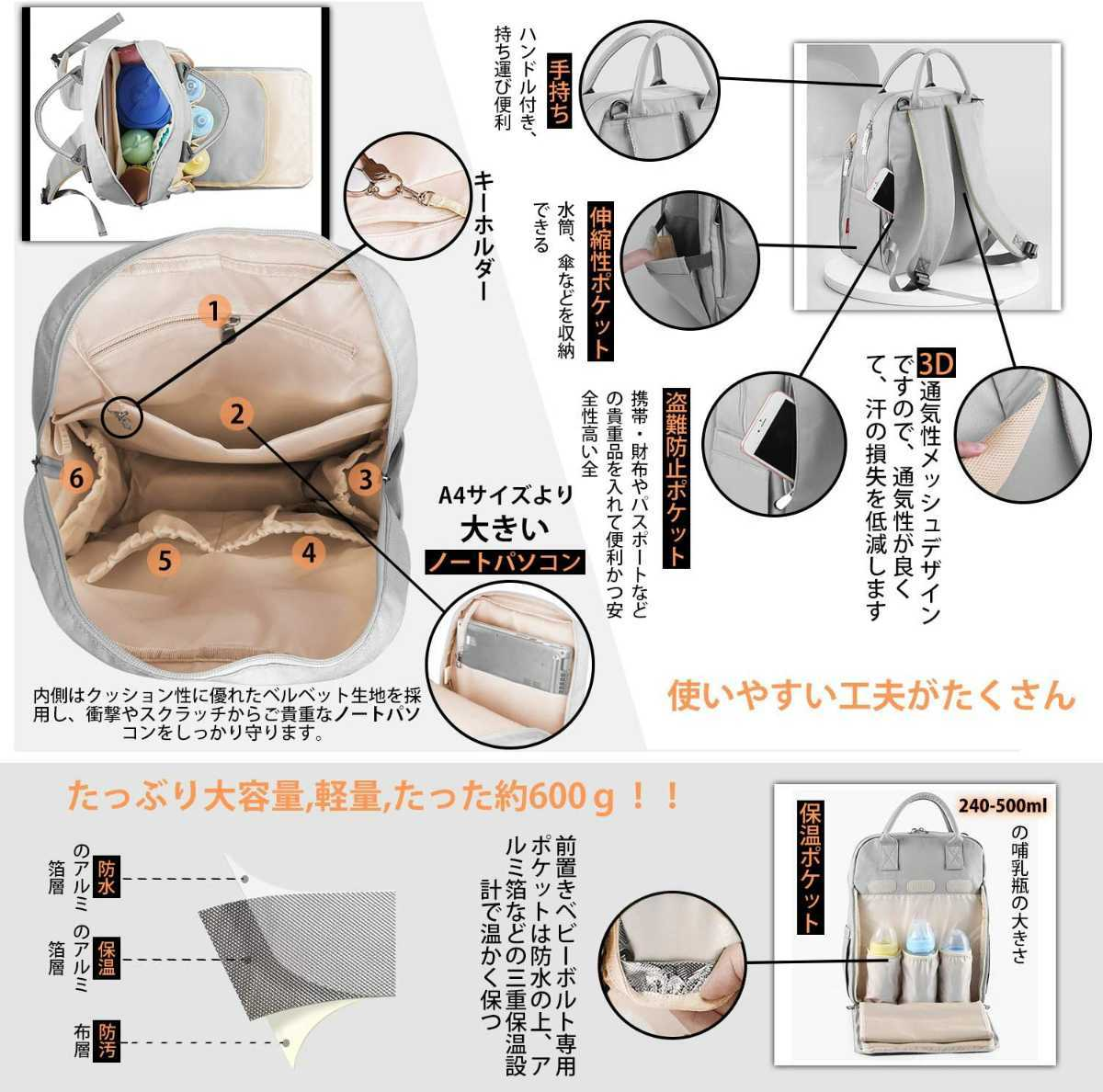 新品☆軽量・大容量3wayマザーズバッグ リュック☆グレー40×30×12cm 哺乳瓶専用収納あり 出産祝い