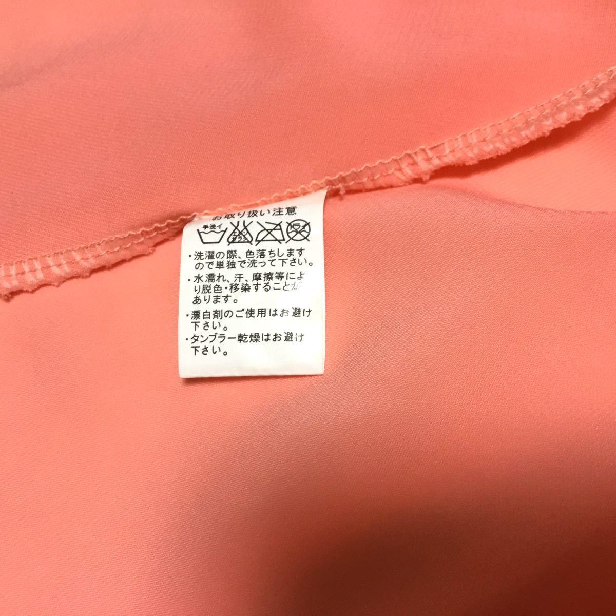 ノースリーブ Aライン シャツ トップス オレンジ色 M〜L シースルー