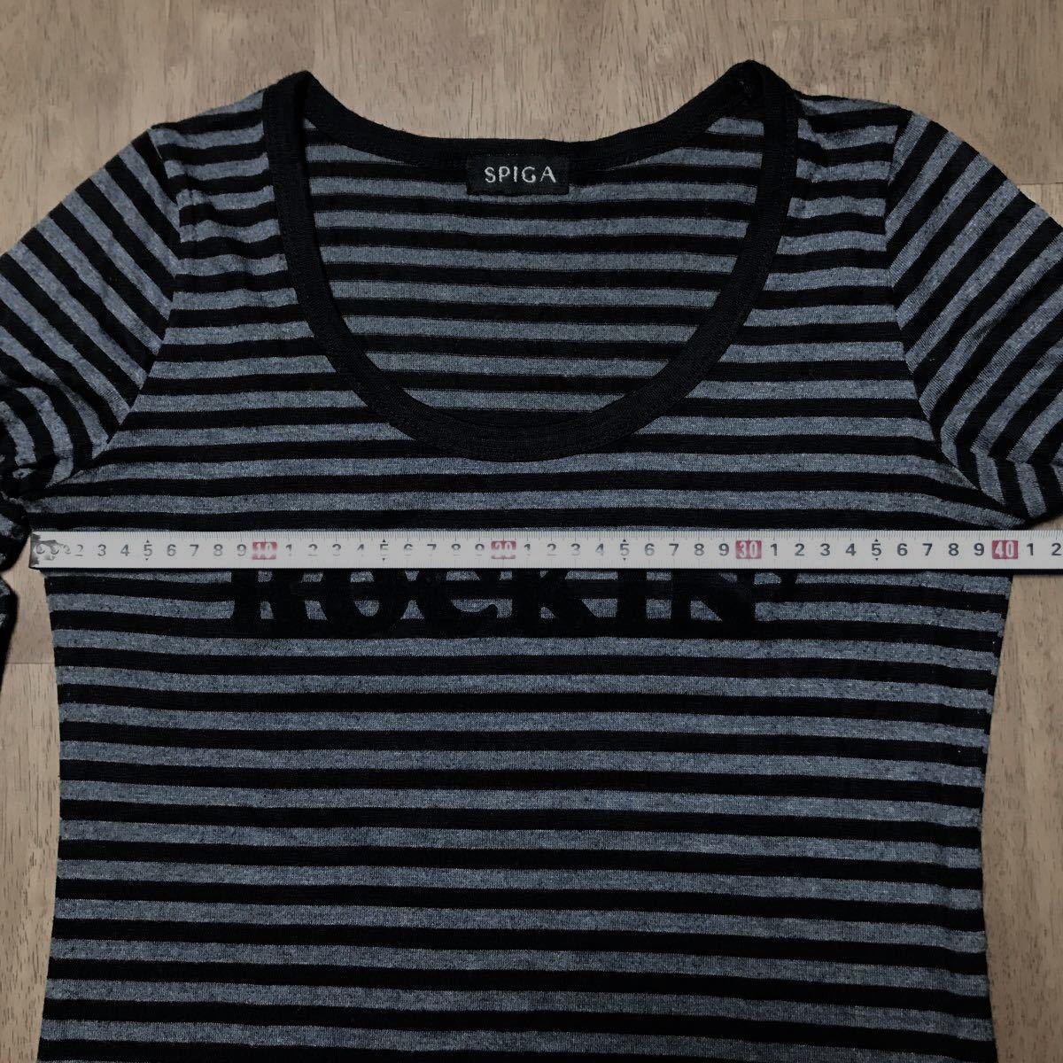 長袖ボーダーTシャツ カットソー トップス   グレー/ブラック