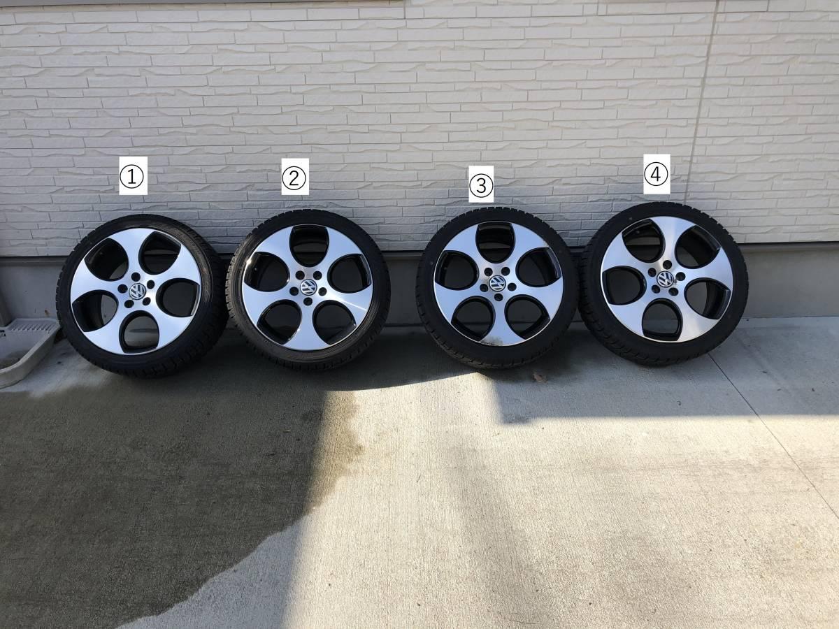 (1円~)スタッドレス ヨコハマ ice GUARD 225/40-18 + VW-GOLF6 GTI用ホイール 4本セ