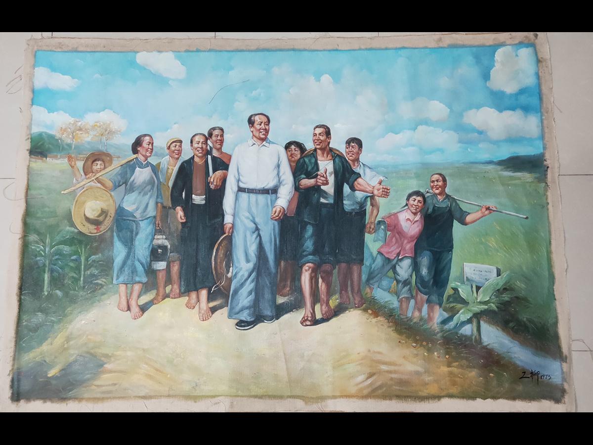 【徳】旧家蔵出 中国書画 『羅工柳 油絵人物図鏡片 肉筆保証品』 未表装 古美術品 骨董品