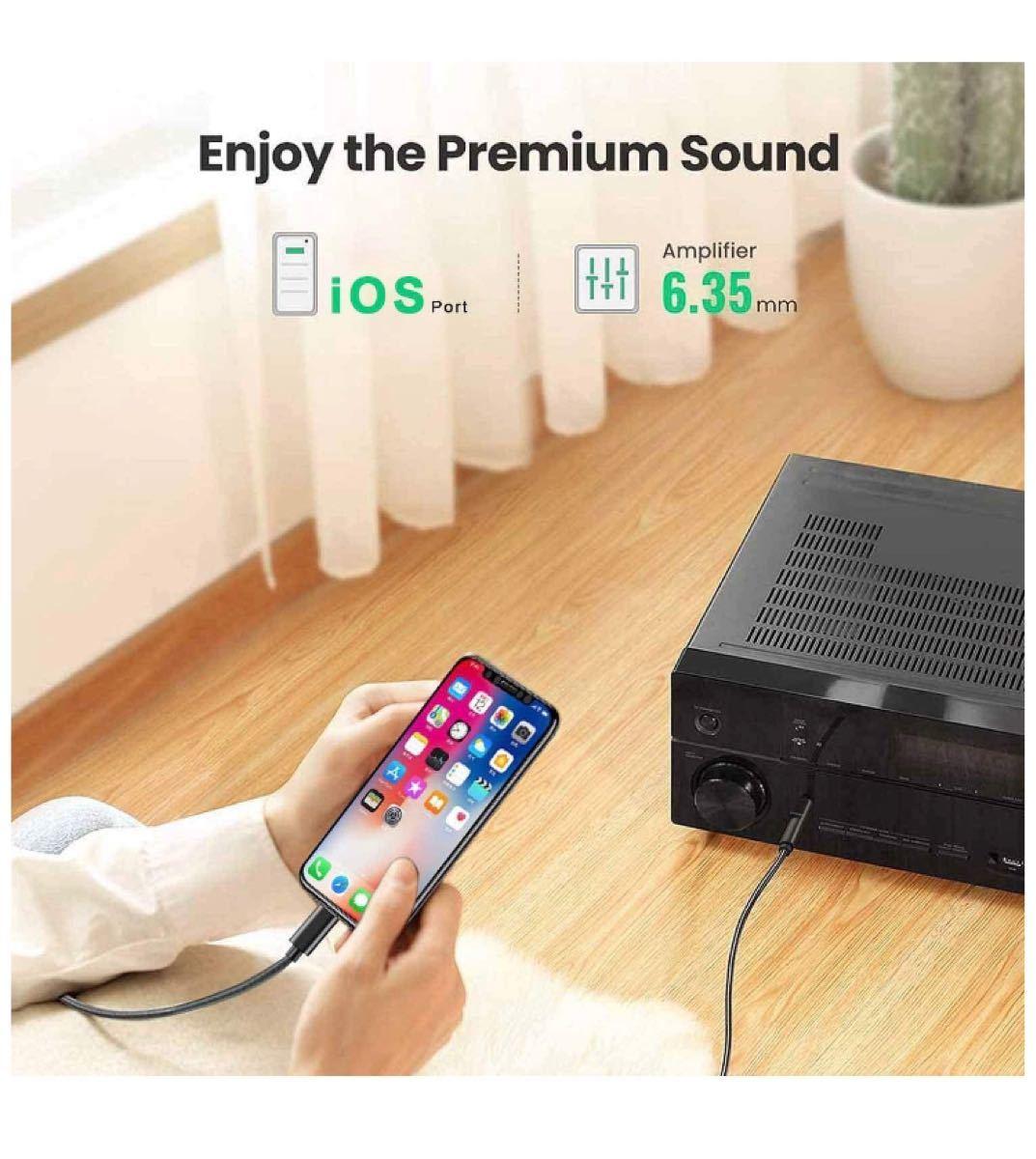 オーディオ変換ケーブル i-Phone ライトニング to 6.35mm オス