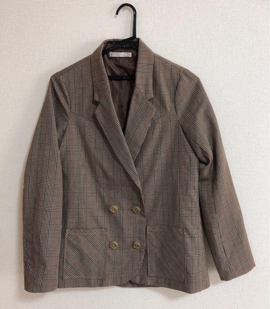 テーラードジャケット チェック ジャケット ブレザー ブラウン 茶色
