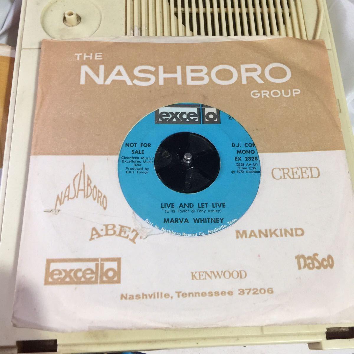 ames Brown一派の人気歌姫 Marva Whitney が Excelloレーベルから72年にリリースしたシングルオンリー盤 でプロモ盤 let and let live