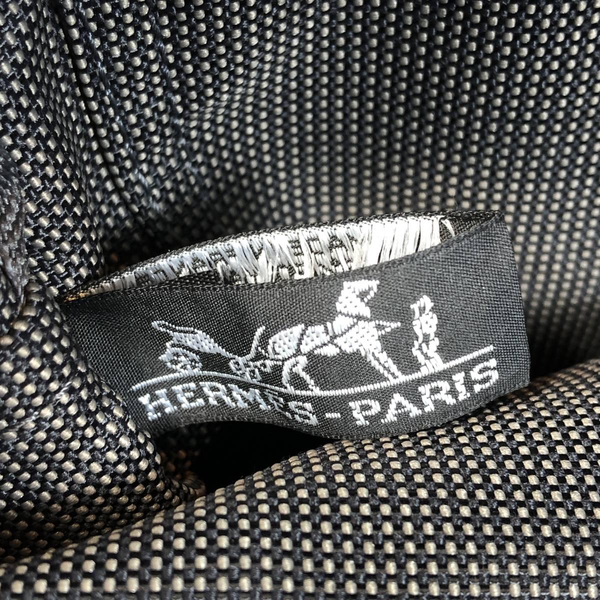 ▼HERMES エルメス エールラインPM キャンバス ハンドバッグ トートバッグ レディース メンズ グレー系_画像7