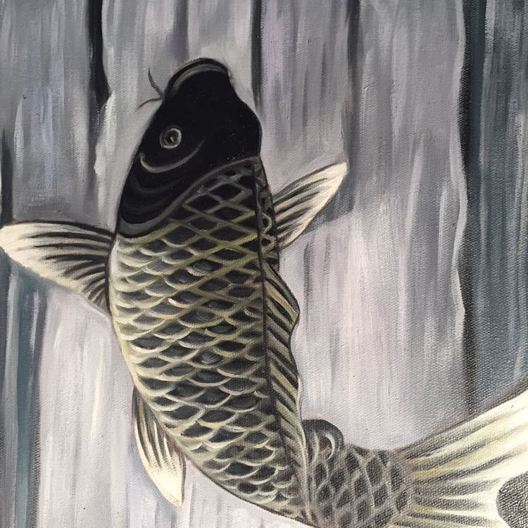 手書き油絵 鯉の滝登り 絵画 インテリア 油彩画