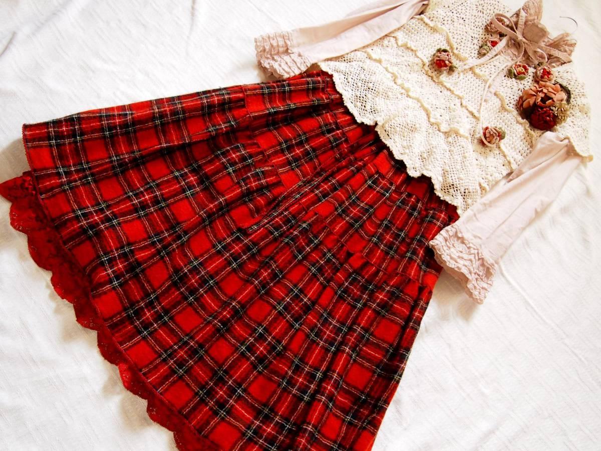 ピンクハウス/赤タータンチェックミディ丈スカート
