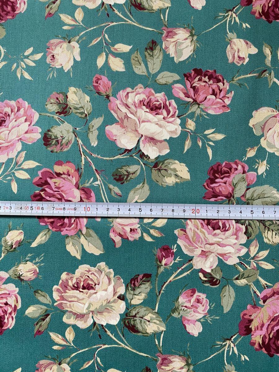 花柄生地 薔薇 ツイル生地 グリーン 50cm