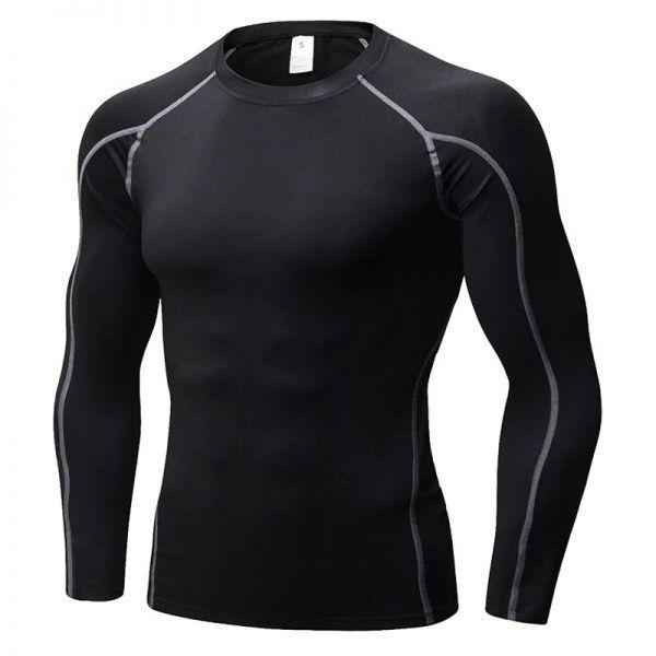 送料無料 新品 スポーツウェア 長袖 メンズ インナー Sサイズ ブラック グレー トレーニング スポーツ アウトドア 加圧 ランニング