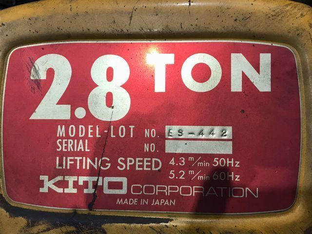 ♪ キトー KITO 天井クレーン2.8t ES-442&トロリー R2-199 ♪_画像3