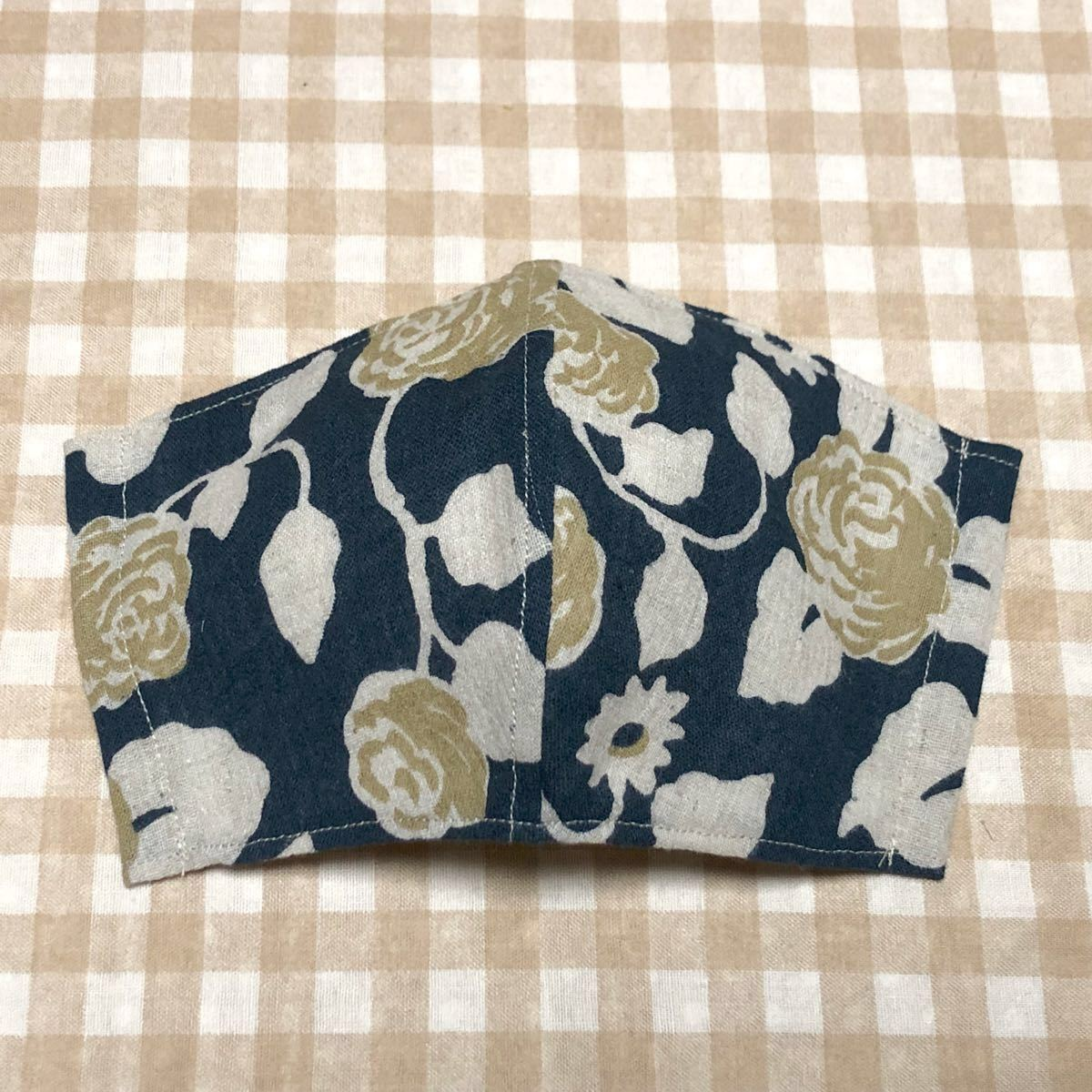★ハンドメイド・ネイビー系×大きな〜花柄・立体インナーカバー×1枚(ポケット付)