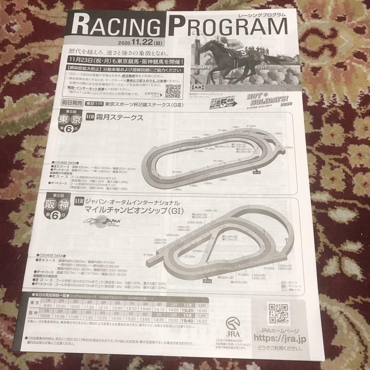 開催競馬場以外版JRAレーシングプログラム2020.11.22(日)マイルチャンピオンシップ(GⅠ)、霜月ステークス_画像1