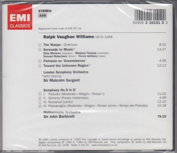 [CD/Emi]ヴォーン・ウィリアムズ:交響曲第5番ニ長調他/J.バルビローリ&フィルハーモニア管弦楽団 1962他_画像2