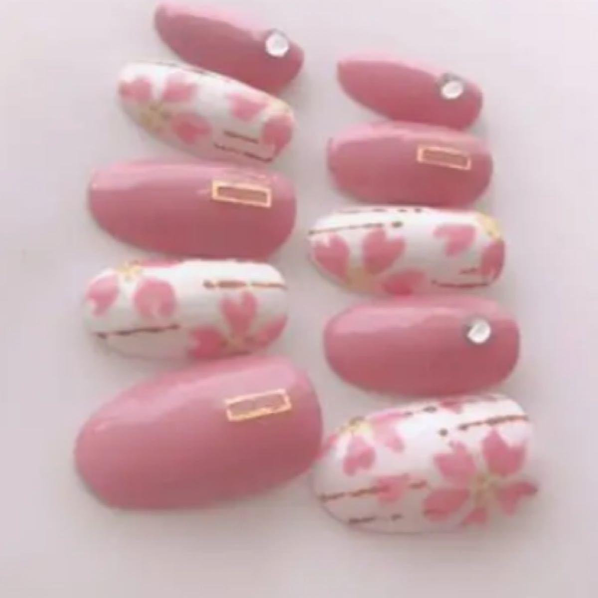 ネイルチップ 和柄 桜ネイル 成人式ネイル 浴衣ネイル
