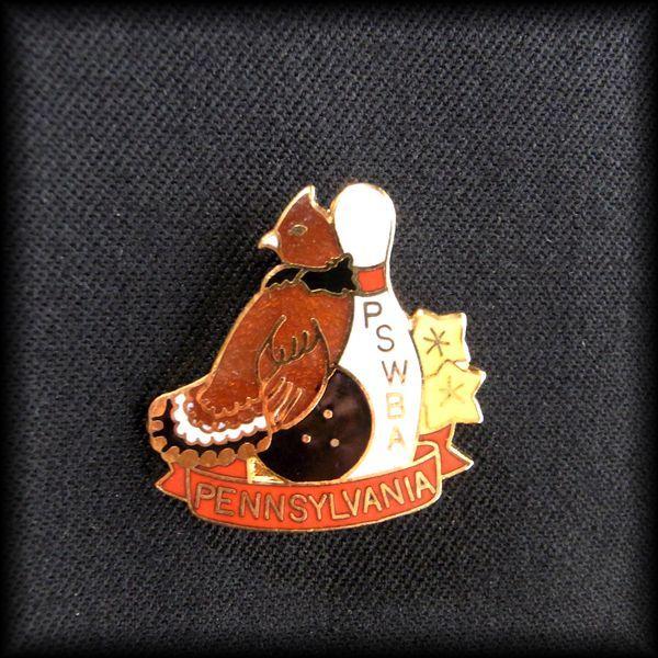 USA BOWLING PIN ボウリングピンバッジ PSWBA PENNSYLVANIA Ruffed Grouse 襟巻雷鳥 エリマキライチョウ No 57