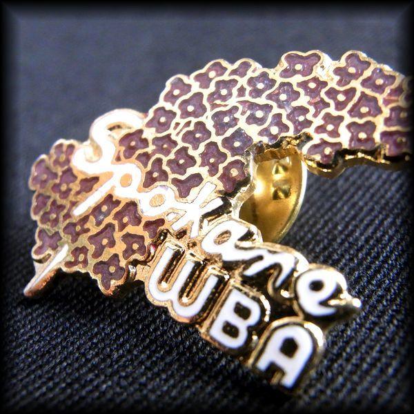 USA BOWLING PIN ボウリングピンバッジ Spokane WBA 花 ライラック Lilac No 67