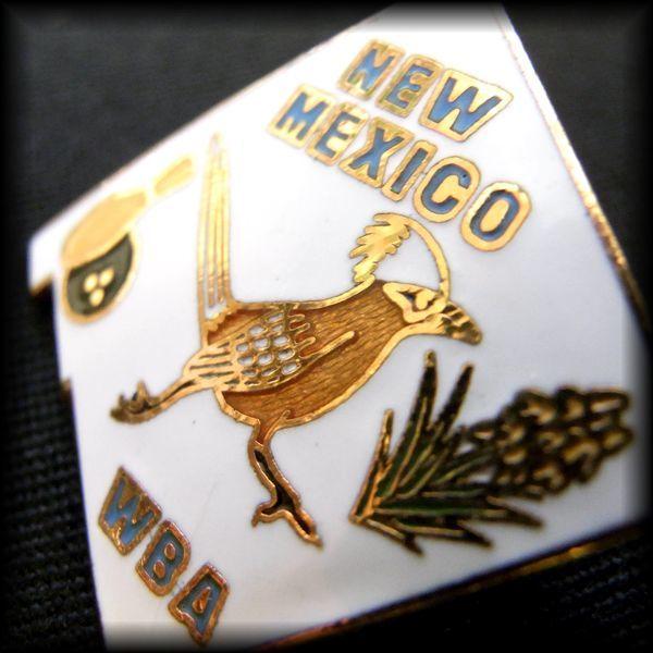USA BOWLING PIN ボウリングピンバッジ NEW MEXICO WBA Roadrunner ロードランナー オオミチバシリ Yucca Flower ニューメキシコ No 71