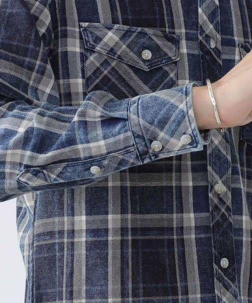 美品 nano・universe ナノユニバース ヴィンテージ加工 チェックシャツ S インディゴブルー 紺×白 ネイビー ホワイト 青 デニムシャツ_画像4