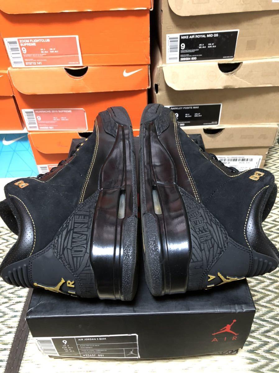 Nike Air Jordan3 Retro(ジョーダン)BHM 黒金 us9(27cm)美品_画像4