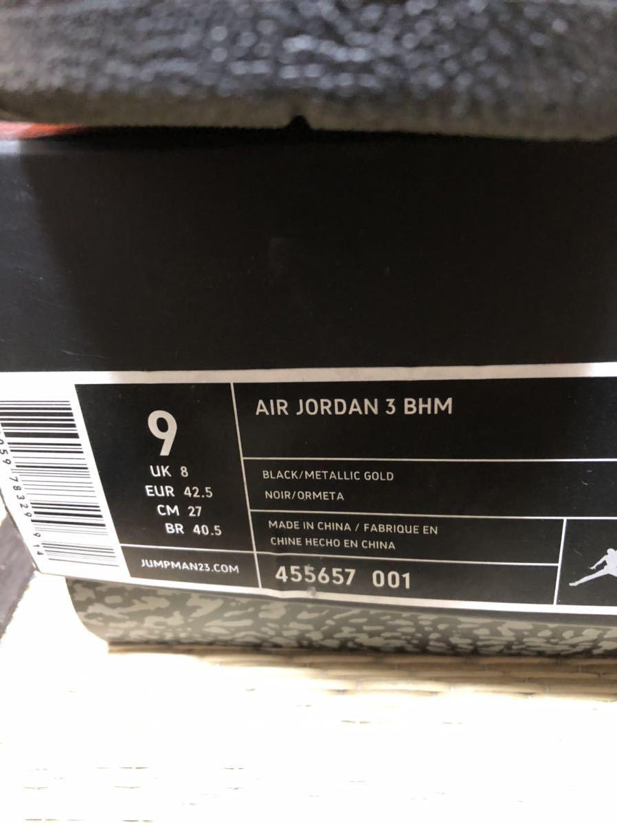 Nike Air Jordan3 Retro(ジョーダン)BHM 黒金 us9(27cm)美品_画像6