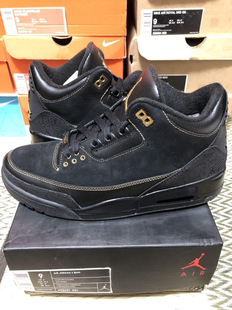 Nike Air Jordan3 Retro(ジョーダン)BHM 黒金 us9(27cm)美品_画像2