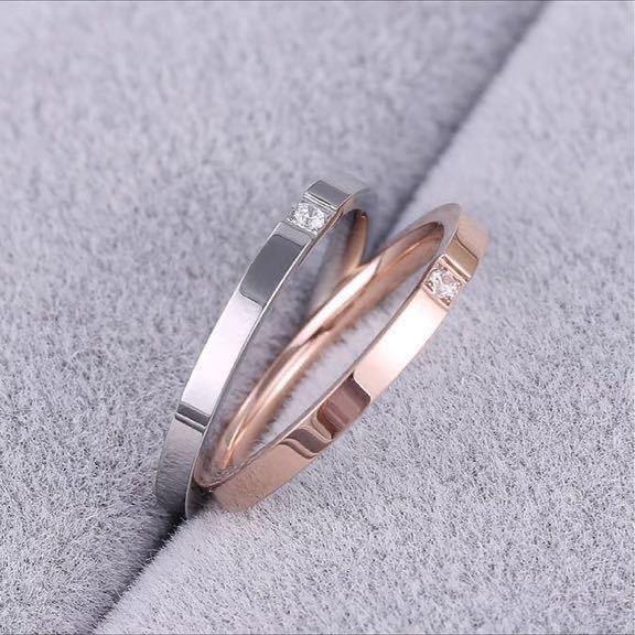 新品 9号 ピンクゴールド 一粒 CZ ダイアモンド リング ダイアモンド ゴールド 高品質 エンゲージリング 結婚指輪 6号~18号有 送料無料_画像1