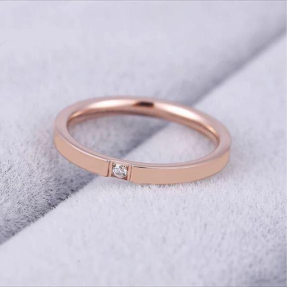 新品 9号 ピンクゴールド 一粒 CZ ダイアモンド リング ダイアモンド ゴールド 高品質 エンゲージリング 結婚指輪 6号~18号有 送料無料_画像2