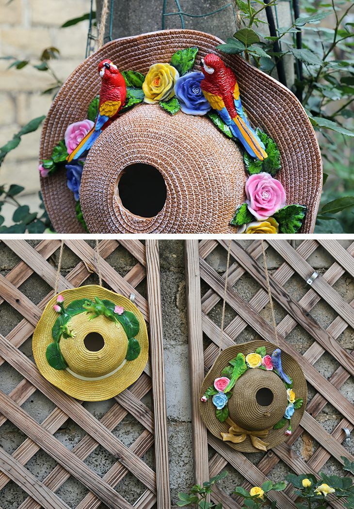 ガーデンオブジェ リボン付き麦わら帽子 花とカラフルなオウム 壁掛け カントリー風 (赤い鳥)_画像3