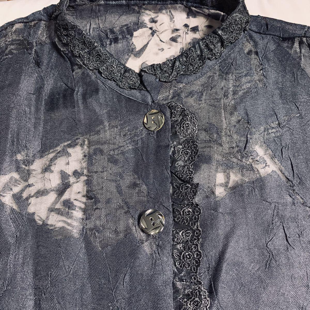 長袖 シャツ ブラウス ノーカラー シースルー レース 花 黒 ブラック