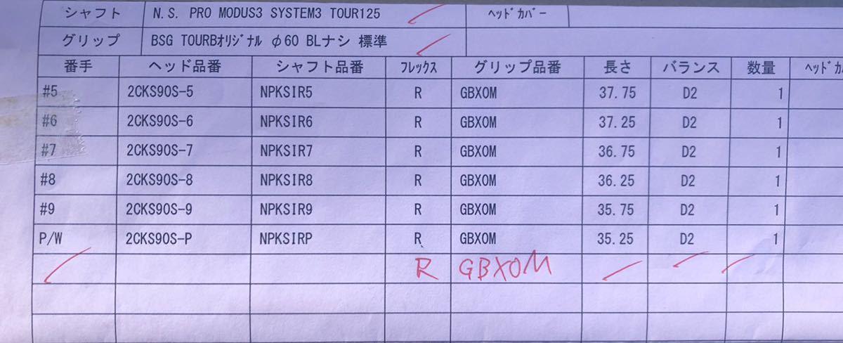 【レア特注】TOUR B X 201CBアイアン モーダス125 DG_画像5