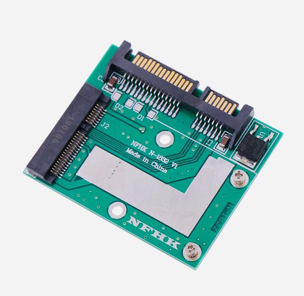 mSATA SSD to → SATA 2.5インチ 変換アダプター 緑