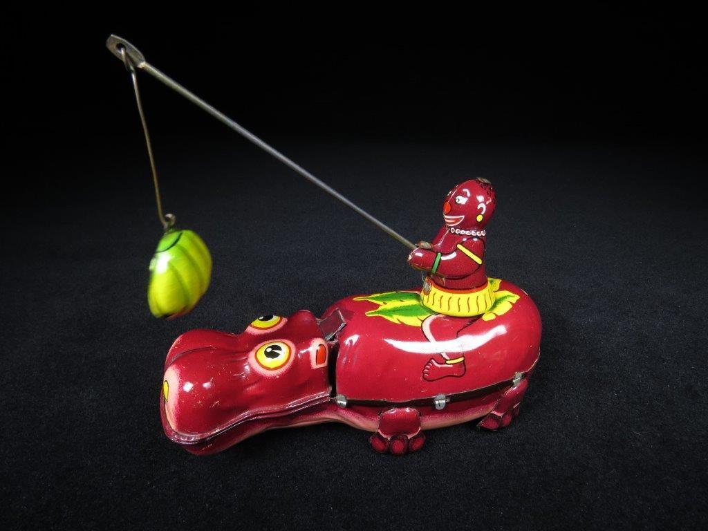 当時物 ブリキ ぜんまい TPS JAPAN HAPPY HIPPO カバ 日本製 可動品 ビンテージ おもちゃ 玩具_画像2