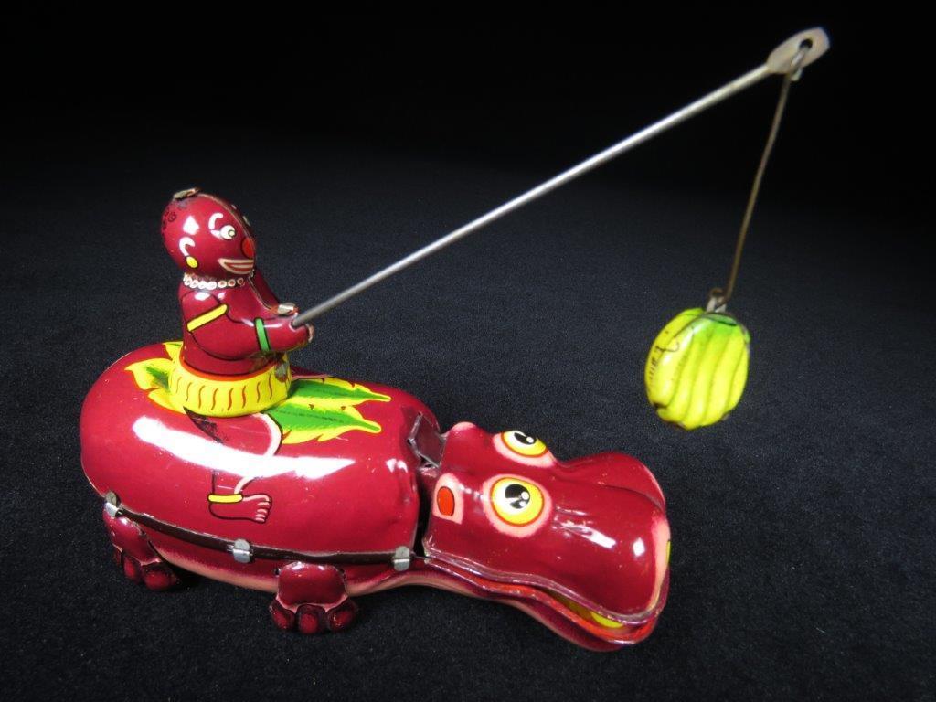 当時物 ブリキ ぜんまい TPS JAPAN HAPPY HIPPO カバ 日本製 可動品 ビンテージ おもちゃ 玩具_画像4