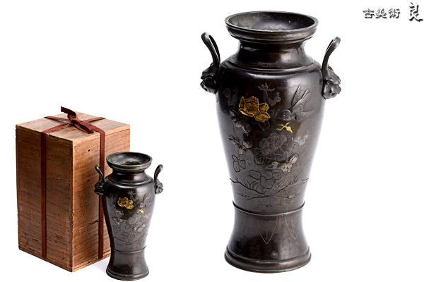 h1706▽良▽明治時代古銅象嵌花鳥文双耳花瓶 検 金工美術鋳造作家貿易明治金工超絶技巧