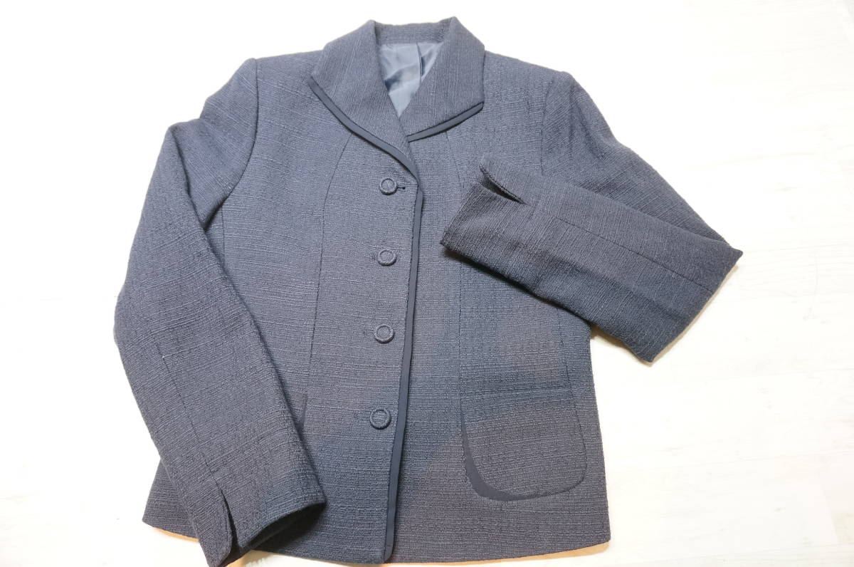 【1702A】RANGE ROVER レンジローバー ネイビー スカートスーツ ツイード 上下セット 日本製 サイズ38_画像2