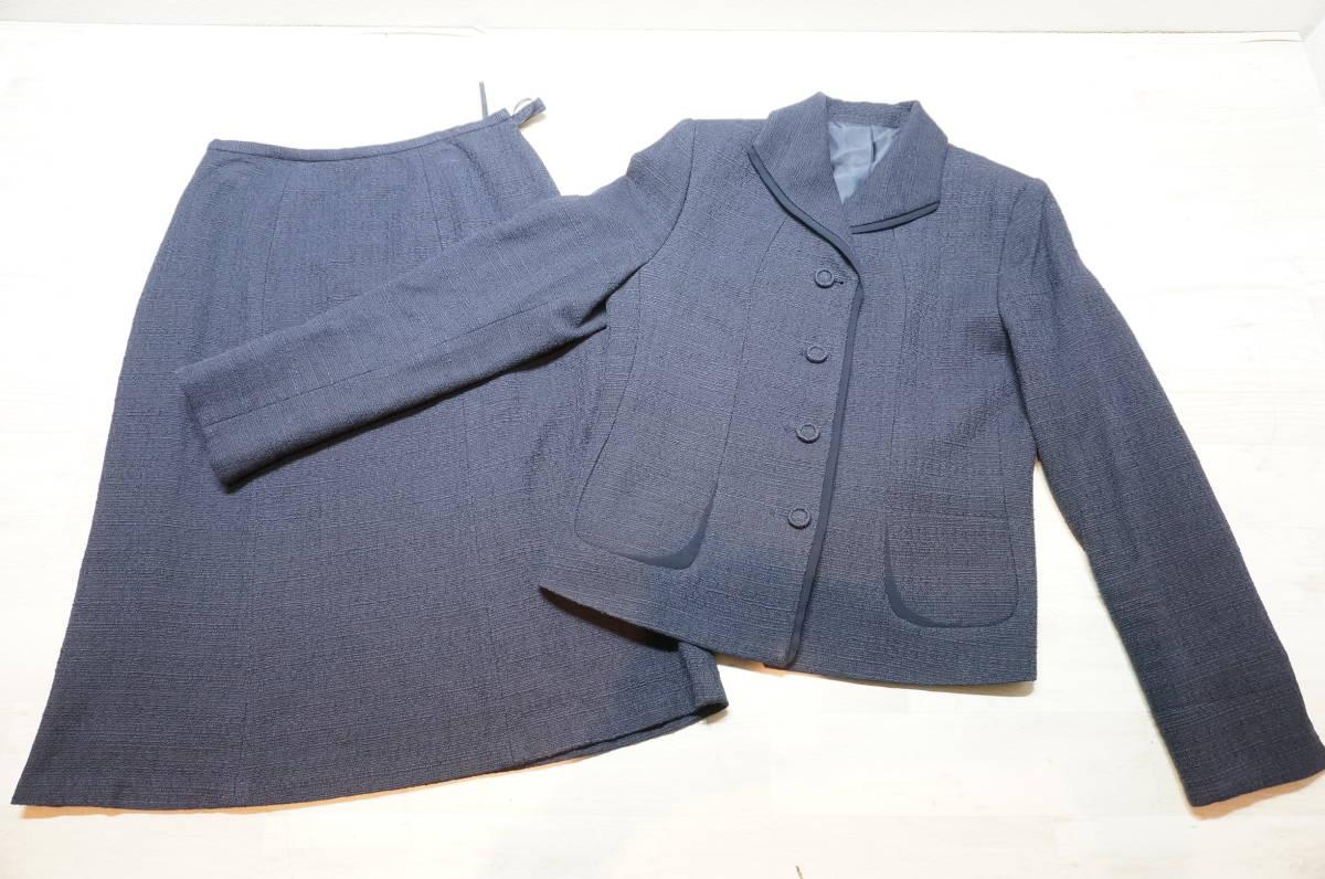 【1702A】RANGE ROVER レンジローバー ネイビー スカートスーツ ツイード 上下セット 日本製 サイズ38_画像1