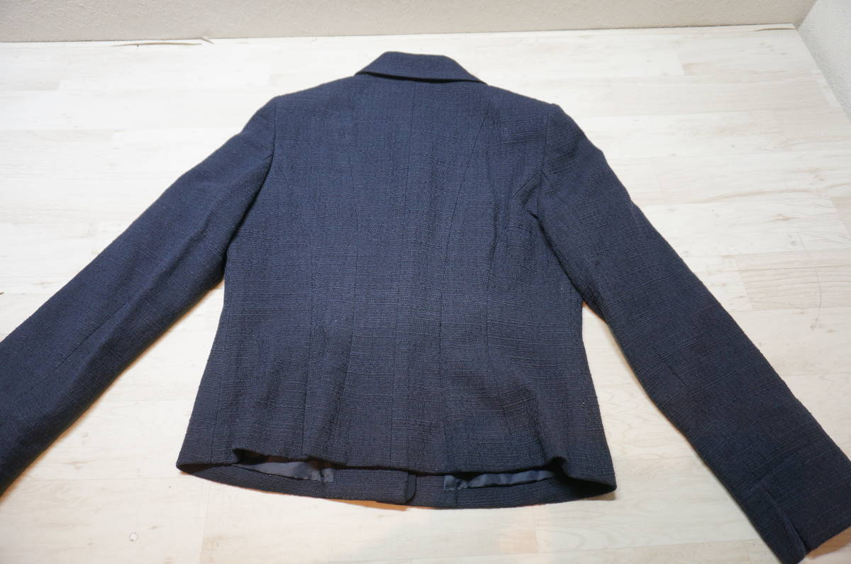 【1702A】RANGE ROVER レンジローバー ネイビー スカートスーツ ツイード 上下セット 日本製 サイズ38_画像5