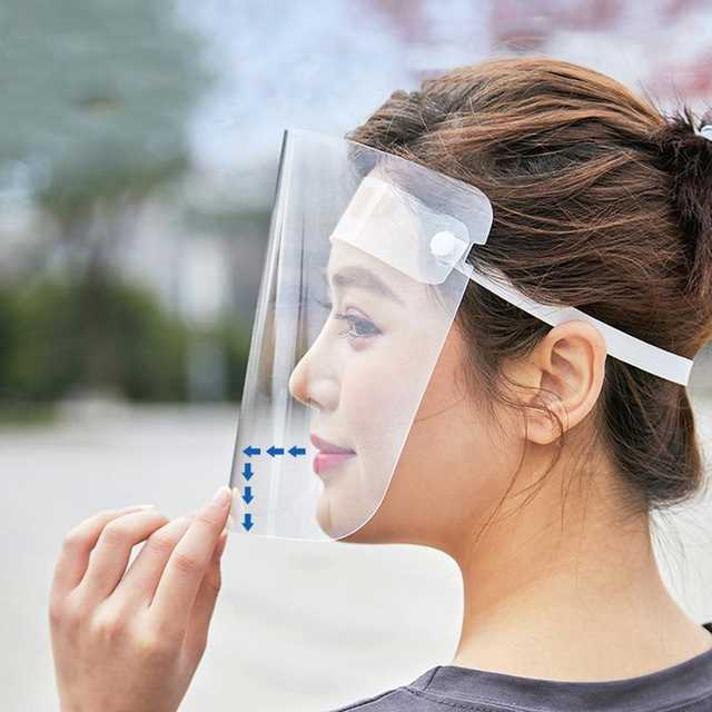 保護フェイスシールド 2個セット! 飛沫防止 曇り止め 透明 コロナウイルス対策 ゴムバンド 調節可能 花粉症予防 防塵 防水 柔軟 D4344_画像1