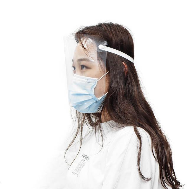 保護フェイスシールド 2個セット! 飛沫防止 曇り止め 透明 コロナウイルス対策 ゴムバンド 調節可能 花粉症予防 防塵 防水 柔軟 D4344_画像2